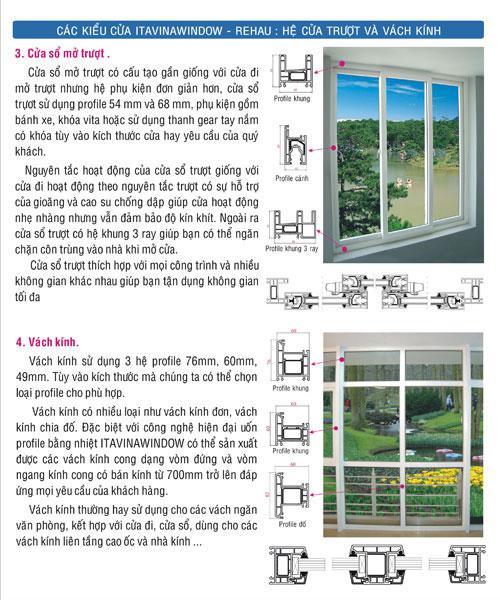cửa nhựa itavinawindow, cửa thái bảo, các kiểu cửa itavinawindow - rehau - hệ cửa trượt và vách kính