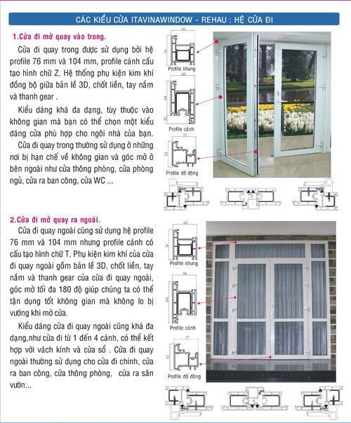 Cửa nhựa itavinawindow, cửa thái bảo, các kiểu cửa itavinawindow - rehau - hệ cửa đi