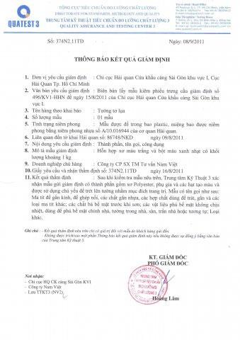Kết quả giám định tường tơ lụa Trung tâm 3- Công ty Phát Triển Việt Nam